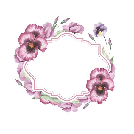 Frame with flowers pansies. Hand draw watercolor illustration