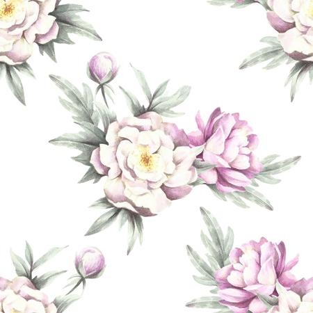 牡丹とのシームレスなパターン。手は、水彩イラストを描いています。