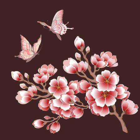 Blooming sakura branch and butterflies. Vector illustration.