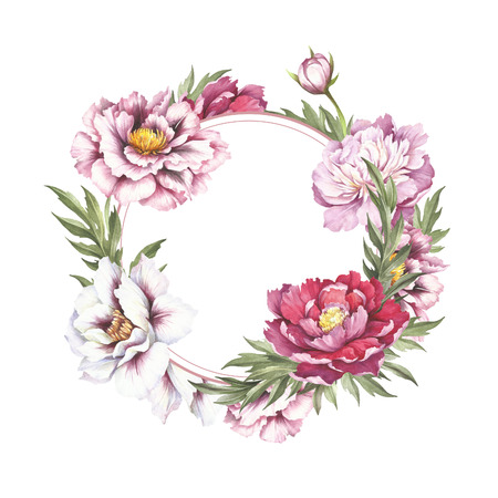 Frame with  peonies. Hand draw watercolor illustration. Stock Photo