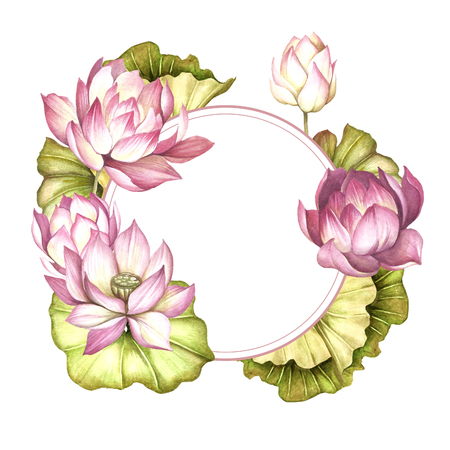 Frame with lotus. Hand draw watercolor illustration.