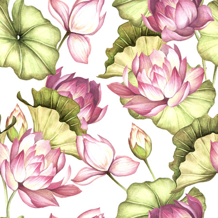 Seamless pattern with lotus. Hand draw watercolor illustration.
