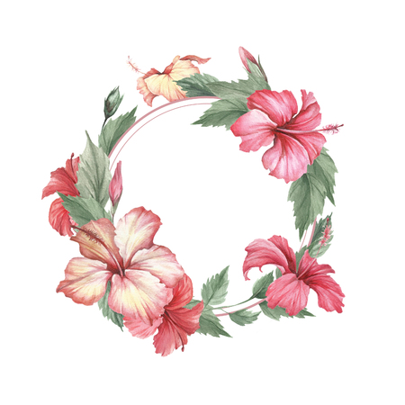 Frame with hibiscus. Hand draw watercolor illustration.