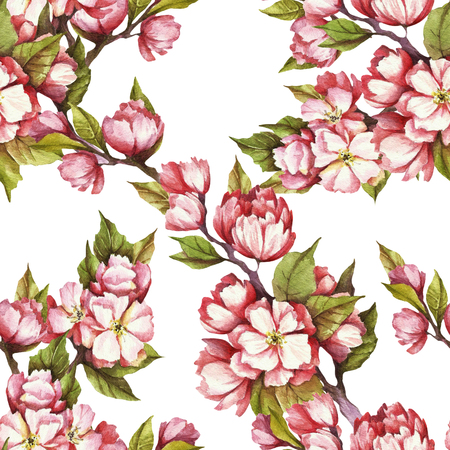 Seamless pattern with cherry blossoms. Watercolor illustration