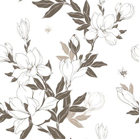 Vintage Magnolia Blumen und Knospen. Nahtloses Muster. Vektor-Illustration.