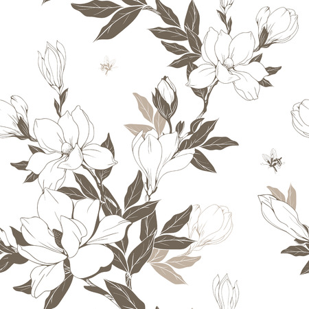 Vintage Magnolia flowers and buds. Seamless pattern. Vector Illustration.