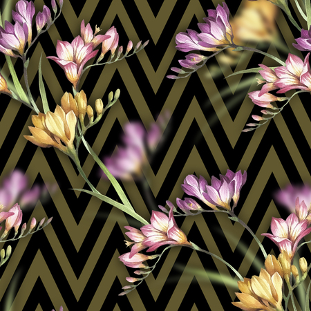 Seamless pattern with watercolor freesia flowers on abstract geometric background.