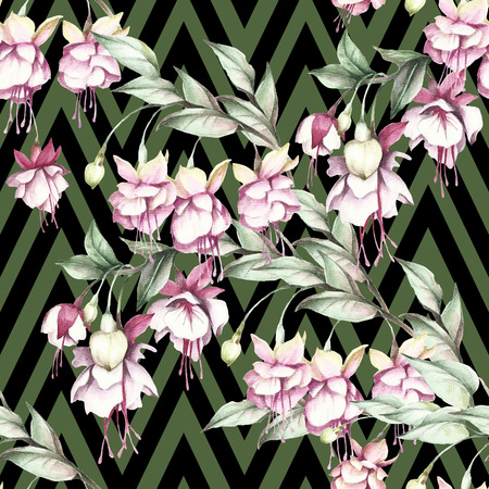 Seamless pattern with watercolor exotic flowers on abstract geometric background.