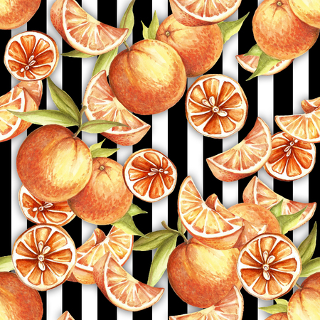 Seamless pattern with watercolor oranges on abstract white black geometric background.