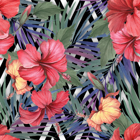 Seamless pattern with watercolor hibiscus flowers and exotic leaves on white black geometric background.