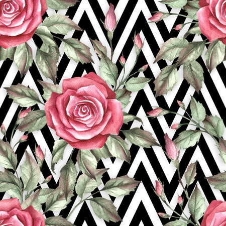 Seamless pattern with watercolor roses on abstract white black geometric background.