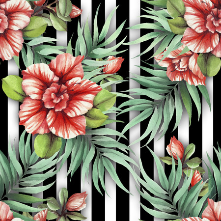 Seamless pattern with watercolor Azalea flowers on abstract white black geometric background. Stockfoto