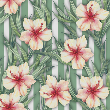 Seamless pattern with watercolor exotic flowers and leaves on abstract geometric background. Stockfoto