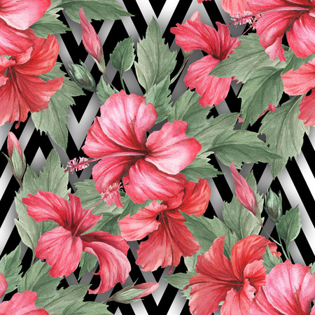 Seamless pattern with watercolor hibiscus flowers on abstract white black geometric background.