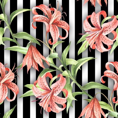 Seamless pattern with watercolor Tiger lily flowers on abstract white black geometric background.