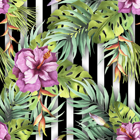 Seamless pattern with watercolor exotic flowers and leaves on abstract white black geometric background.