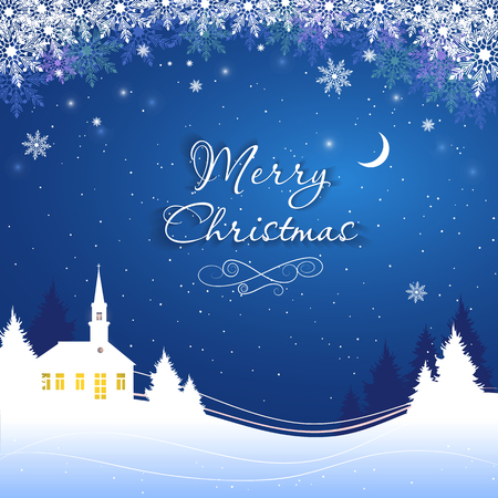 Magic Merry Christmas night for greeting card. Vector illustration