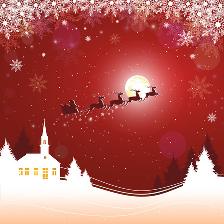 Merry Christmas night. Flying Santa Claus with reindeers silhouette on moon background over winter landscape. Vector illustration
