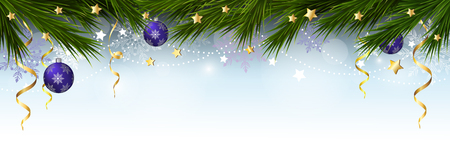 Christmas border with branches of a Christmas tree, snowflakes and stars. Vector illustration. Stockfoto