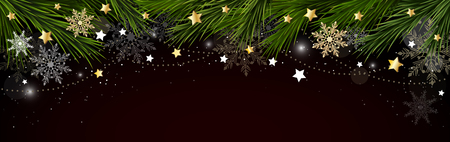 Christmas, New Year border with branches of a Christmas tree, snowflakes and stars. Vector illustration