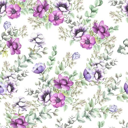 Seamless pattern with anemones and eucalyptus. Hand draw watercolor illustration.