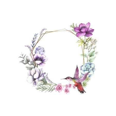Universal background with anemones, eucalyptus and birdie. Hand draw watercolor illustration. Stockfoto