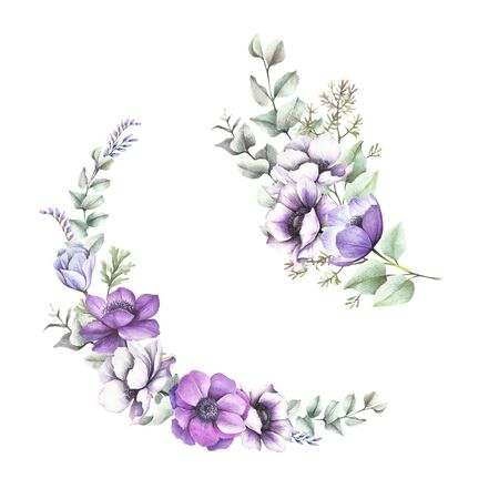 Anemones and eucalyptus bouquet. Isolated on white background for your design. Watercolor illustration.