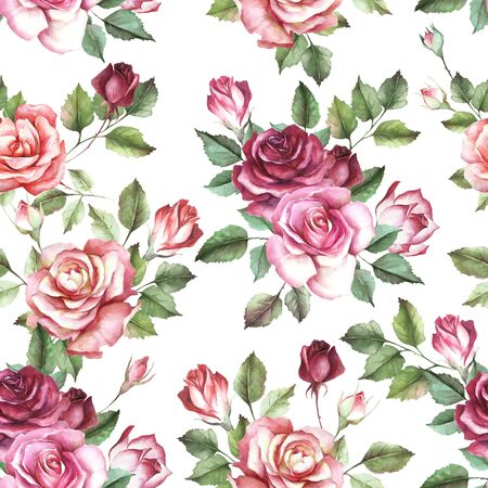 Seamless pattern with roses. Hand draw watercolor illustration.