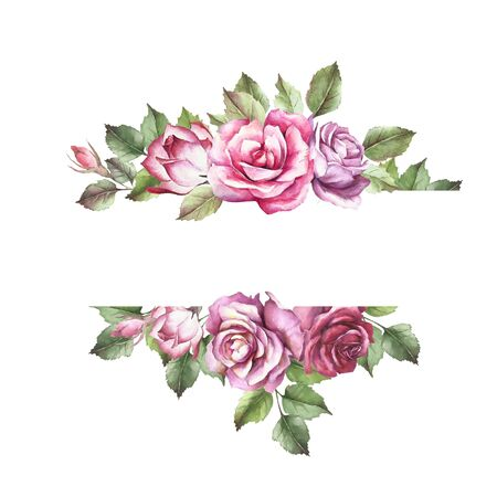 Universal background with roses. Hand draw watercolor illustration.