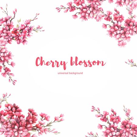 Universal background with cherry blossoms.Hand draw watercolor illustration.
