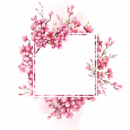 Frame with the cherry blossoms. Watercolor illustration.