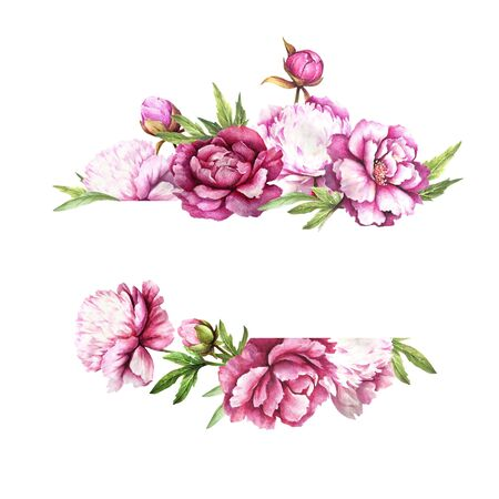 Universal background with peonies. Hand draw watercolor illustration.