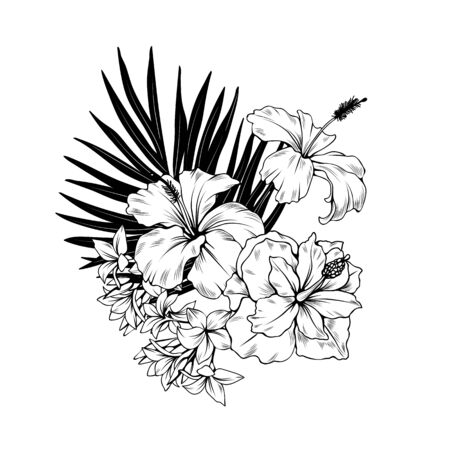 Composition with hibiscus and palm leaves. Vector botanical illustration.