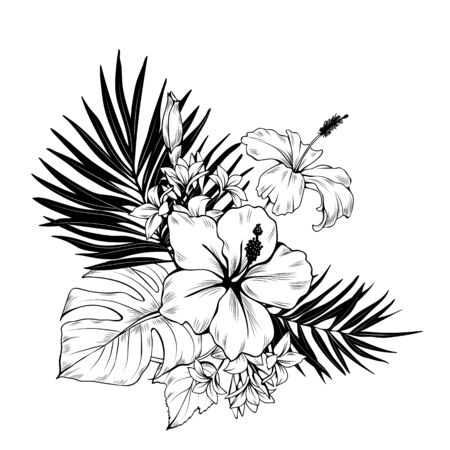 Composition with hibiscus and palm leaves. Vector botanical illustration Иллюстрация