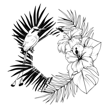 Composition with frame, hibiscus, palm leaves and bird. Vector botanical illustration