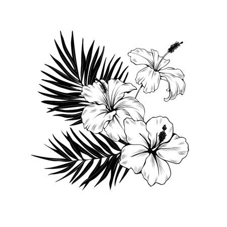 Composition with hibiscus and palm leaves. Vector botanical illustration Vectores