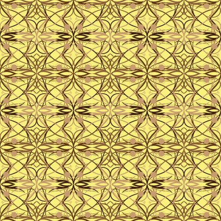 vector illustration of light and dark brown batik with a yellow background. Seamless pattern design for your products. wallpaper. poster, banner Illusztráció
