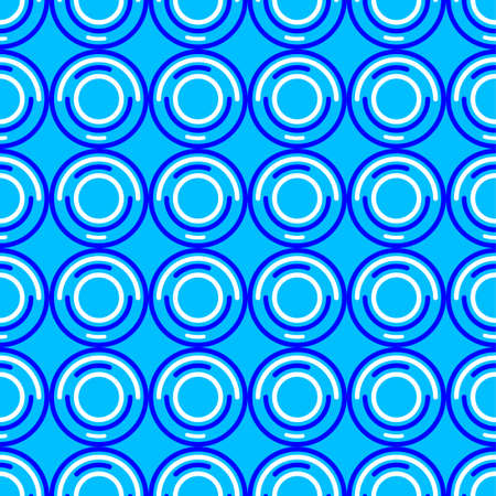 Vector illustration of dark blue and white circles on light blue background. Seamless pattern for your design material. eps 10