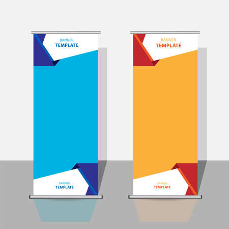 modern roll-up banner templates. geometric abstract vector design.
