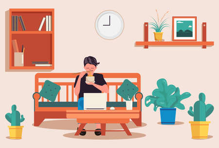 Illustration of a man reading and working at home.