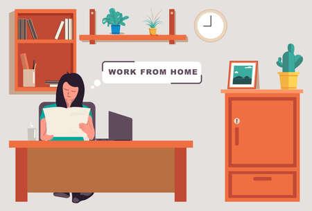 Illustration of woman reading and working at home. Illusztráció