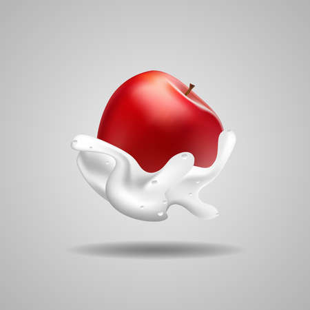 apples with milk sauce. realistic fruit vector art for your design material