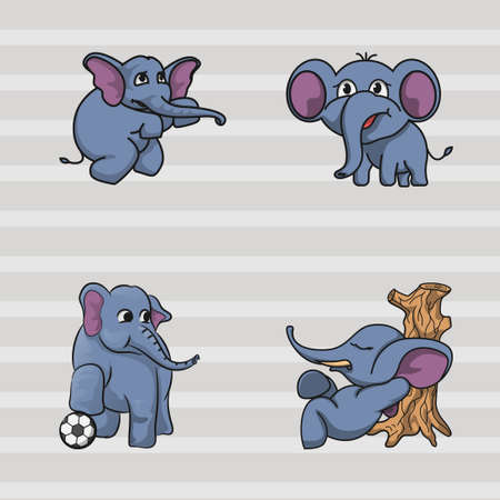 Cute elephant mascot collection, hand drawn character designs. vector illustratio