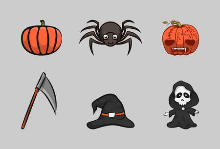 Halloween magic ghost cartoon, hand drawn vector design. Illusztráció