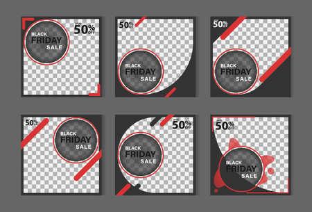 black friday social media post banner collection. modern layout design for events, promotions, digital marketing. vector illustration