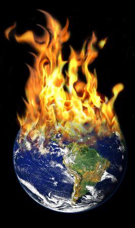 photomanipulation: Burning World photomanipulation Stock Photo