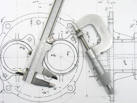caliper: Engineering tools on technical drawing
