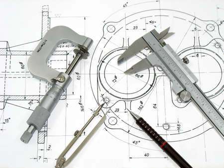 micrometer: Engineering tools on technical drawing