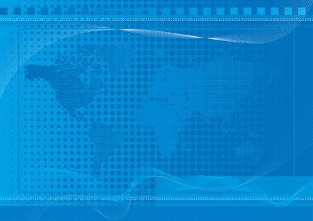 World Background Blue - Blue world background with halftone and dot effects and blends