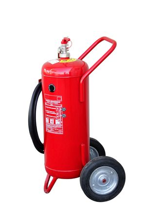 wheeled: Wheeled big fire extinguisher  Stock Photo